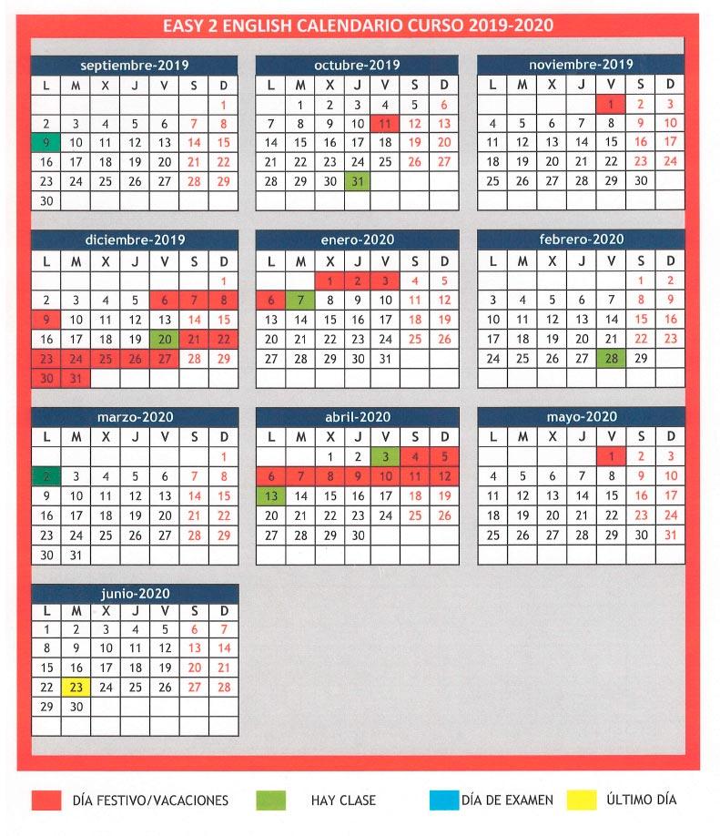 Easy2English Calendario 2020